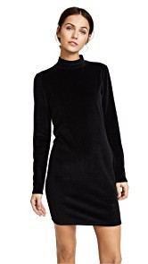T by Alexander Wang Velour Turtleneck Dress
