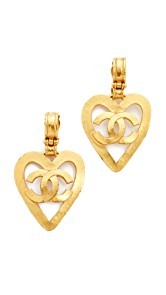 What Goes Around Comes Around Chanel CC on Heart Clip On Earrings (Previously Owned)