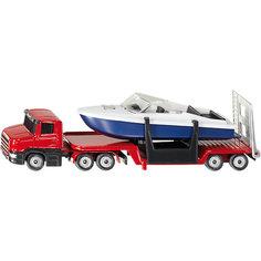 SIKU 1613 Низкорамный грузовик с катером