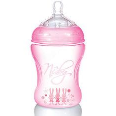 Полипропиленовая бутылочка с принтами Nuby, 240 мл., розовый