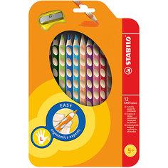 Набор цветных карандашей для левшей, 12 цв., EASYCOLORS Stabilo