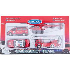 "Welly Набор машин ""Пожарная служба"" 4 штуки"