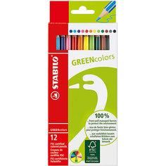 STABILO GREEN colors Набор цветных карандашей, 12 шт.