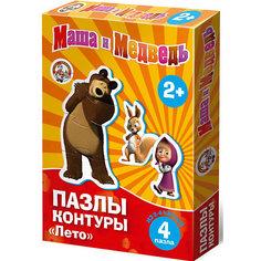 """Контурные пазлы """"Лето"""", 4х2/4 части, Маша и Медведь Десятое королевство"""