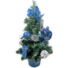 Елка декоративная с синими украшениями, 40 см., TUKZAR