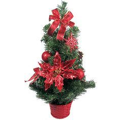 Елка декоративная с красными украшениями, 50 см Tukzar