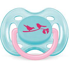 """Пустышка """"Дизайн"""" Птички для девочки , 0-6 месяцев, 1 шт., AVENT, голубой"""
