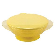 Тарелка на присоске с крышкой EAT & CARRY, Happy Baby, жёлтый