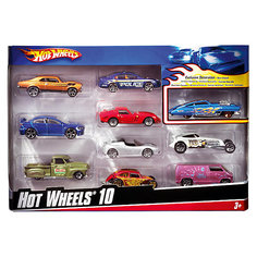 Набор из 10 машинок, металл, Hot Wheels Mattel