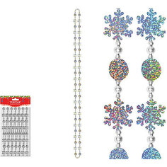 Бусы декоративные пластиковые со снежинками, 2,7 м Tukzar