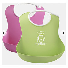 Комплект из 2-х нагрудников, BabyBjorn, розовый/зеленый