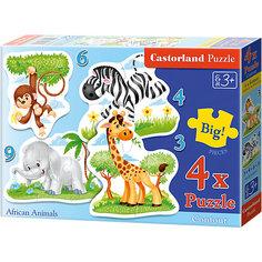 """Пазл 4 в 1 Castorland """"Африканские животные"""", 3*4*6*9 деталей"""