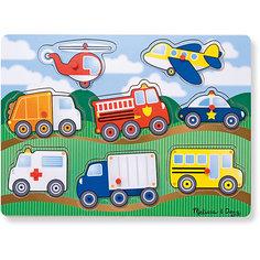"""Рамка-вкладыш """"Транспорт"""" с кнопкой, 8 деталей, Melissa & Doug"""