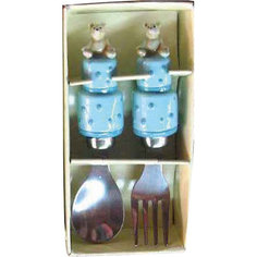 """Голубой набор столовых приборов """"Мишки"""" (2 предмета) Феникс Презент"""