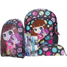 Школьный набор (Эргономичный ранец, мешок для обуви, пенал с наполнением), Littlest Pet Shop Академия групп
