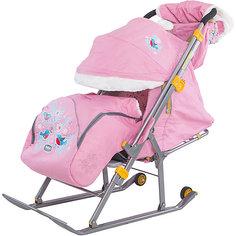 Санки-коляска Ника детям  6, Снегири на ветке, розовый Nika