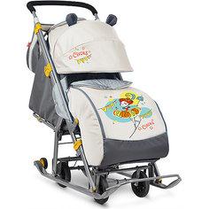 Санки-коляска Ника детям  7, Девочка с зонтиком, бежевый Nika