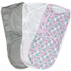 Конверт для пеленания на липучке, SWADDLEME®, р-р L, 3 шт., цветы розовый Summer Infant