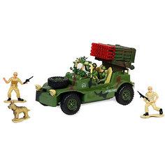 Военный джип с зенитной установкой, с фигурками, подветкой и звуком, на радиоуправлении, Mioshi Army