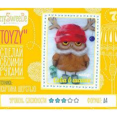 """Набор для картин шерстью """"Сова в шапке"""" Toyzy"""