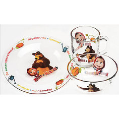 """Набор посуды """"Огород"""" (3 предмета, стекло), Маша и Медведь МФК профит"""
