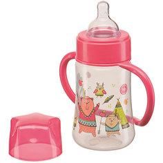 Бутылочка для кормления с ручками, 250 мл, Happy Baby, красный