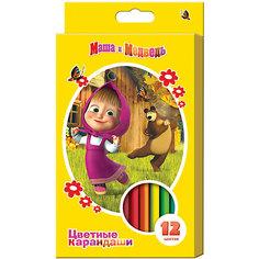 Цветные карандаши, 12 цв., Маша и Медведь Росмэн