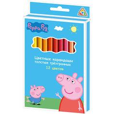 Цветные карандаши, 12 цв., Свинка Пеппа Росмэн