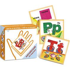 """Карточки """"Английский на ладошке. Цвета и формы, счет и алфавит"""" Маленький гений"""
