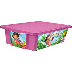 "Ящик для хранения игрушек ""X-BOX"" ""Даша путешественница"" 30л на колесах, Little Angel, розовый"