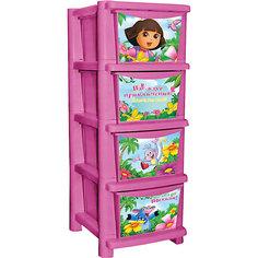 "Комод для детской комнаты ""Даша путешественница"" 335мм, Little Angel, розовый"