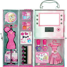 Игровой набор детской декоративной косметики в чемодане с подсветкой, Barbie Markwins