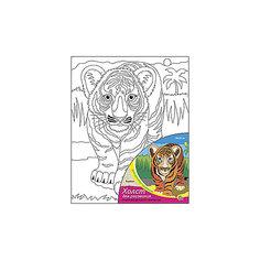 """Холст с красками по номерам """"Тигрёнок"""", 20х25 см Рыжий кот"""