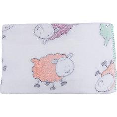 Плед-покрывало Разноцветные овечки 100х118  Velsoft 2-стороннее оверлок, Baby Nice, белый