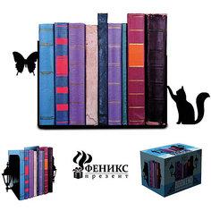 """Подставка-ограничитель для книг """"Кот и бабочка"""" (15*8*12см, 2 шт) Феникс Презент"""