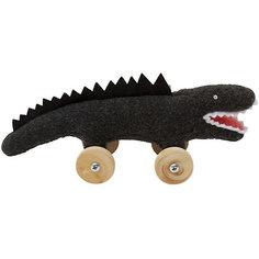 """Мягкая игрушка """"Крокодил на колесиках"""", черный, 16см, Trousselier"""