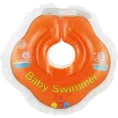 Круг для купания с погремушкой внутри BabySwimmer, оранжевый