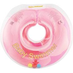 Круг для купания с погремушкой внутри РОЗОВЫЙ БУТОН BabySwimmer, розовый