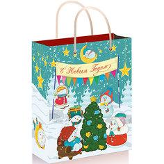 """Подарочный пакет """"Снеговики с елочкой"""" 26*32,4*12,7 см Magic Time"""