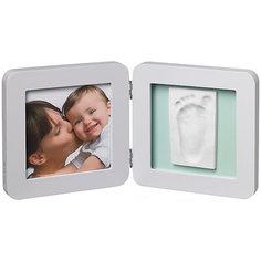 Фоторамка двойная, Baby Art, светло-серая, подложка голубая/бирюзовая/серая