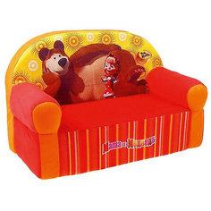 Мягкий диван Маша и Медведь, СмолТойс, оранжевый