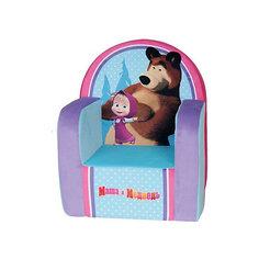 Мягкое кресло с чехлом 53*41*32 Маша и Медведь, СмолТойс, голубой