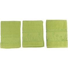 Комплект из 3 махровых полотенец Tulips, Португалия, зеленый