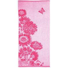 Полотенце махровое Цветник 60*130, Любимый дом, розовый