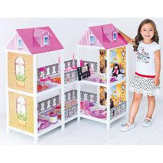 2-этажный кукольный дом (угловой, 4 комнаты, мебель, 2 куклы), PAREMO