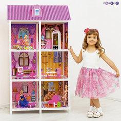 3-этажный кукольный дом (6 комнат, мебель, 3 куклы), PAREMO