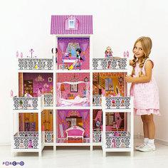 3-этажный кукольный дом (7 комнат, мебель, 3 куклы), PAREMO