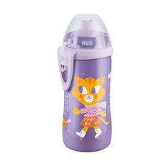"""Поильник с насадкой """"Тяни-толкай"""" Кошечка, 300 мл., NUK, фиолетовый"""
