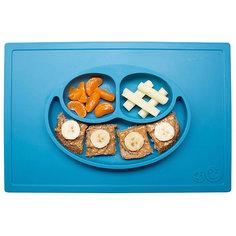 Тарелка трехсекционная с подставкой Happy Mat, 540 мл., ezpz, синий