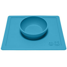 Тарелка глубокая с подставкой Happy Bowl, 240 мл., ezpz, синий